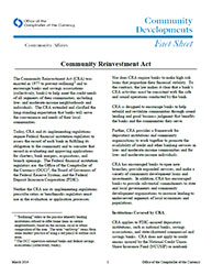 Community Affairs Fact Sheet: CRA: Community Reinvestment Act - March 2014