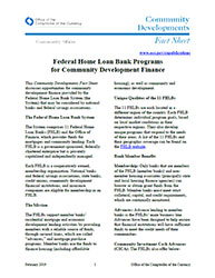 Community Affairs Fact Sheet: Federal Home Loan Bank Programs for Community Development Finance - February 2019