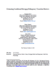Working Paper Cover Image: Estimating Conditional Mortgage Delinquency Transition Matrices
